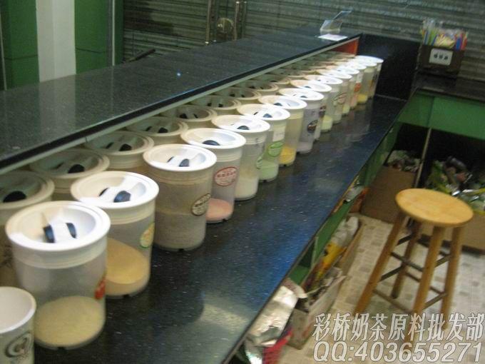 58奶茶培训吧台照片集锦|广州彩桥奶茶原料批