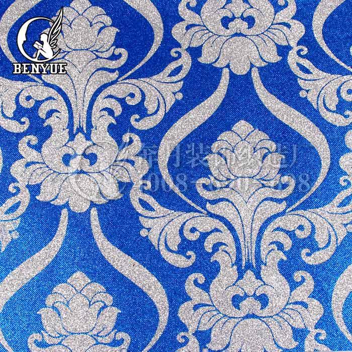 欧式蓝色花鸟墙布贴图