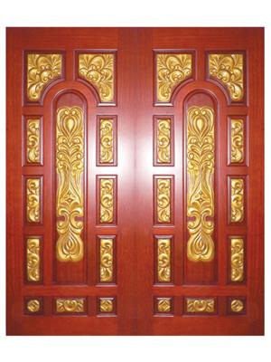 戈雅印象雕花描金对开原木大门-61102-02