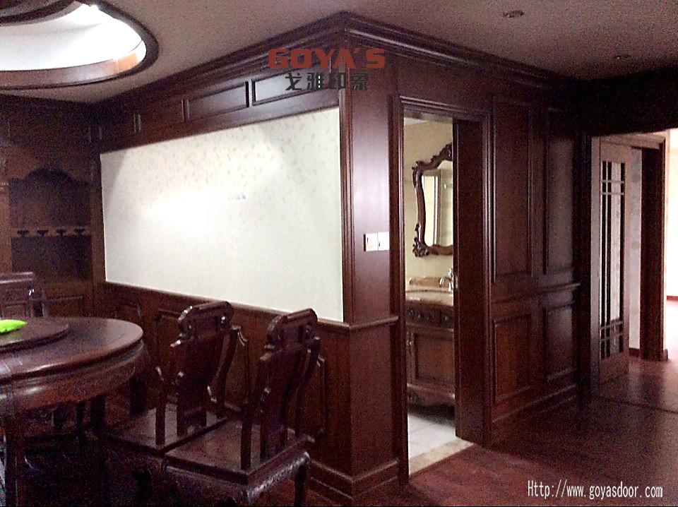 原木书柜书房,原木护墙板图片