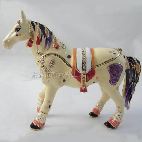 東莞金屬珠寶首飾盒 珠寶盒 動物首飾盒 彩繪景泰藍馬首飾珠寶盒 亮美工藝飾品有限公司