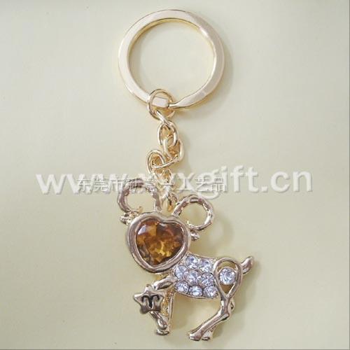 東莞金屬鑰匙扣 鑰匙扣掛件 亮美十二生肖系列雙魚座鑰匙扣工藝品 生產廠家
