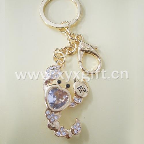 東莞金屬鑰匙扣 鑰匙扣掛件 亮美十二生肖系列蝎子座鑰匙扣工藝品 生產廠家
