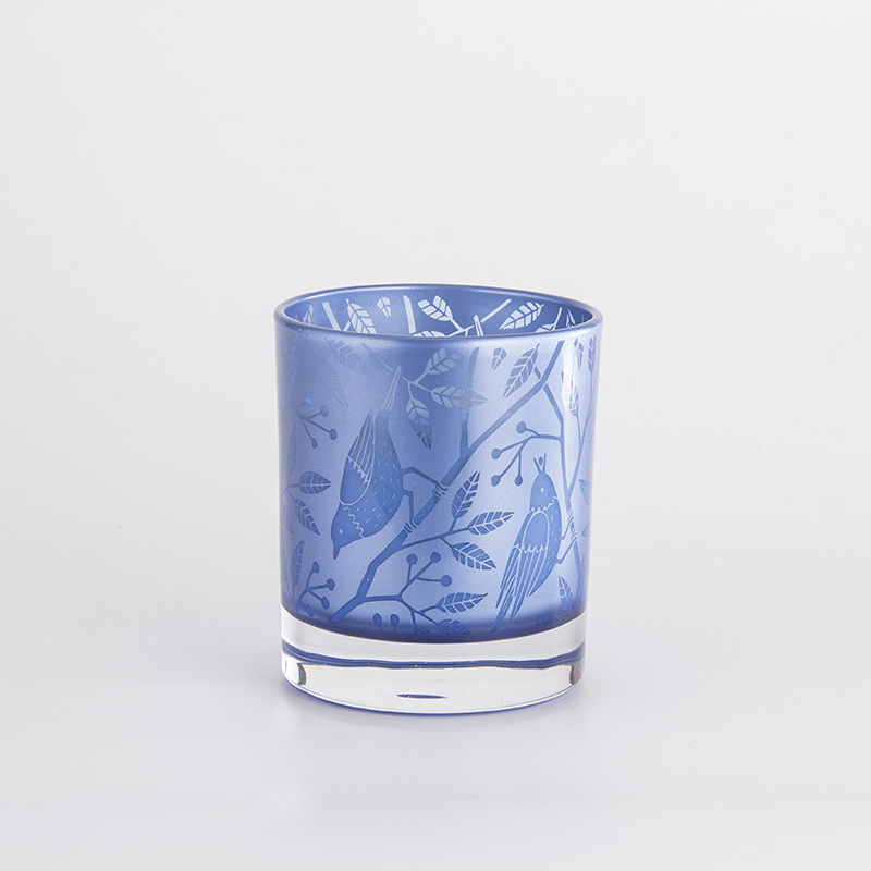 鐳射藍色花鳥杯