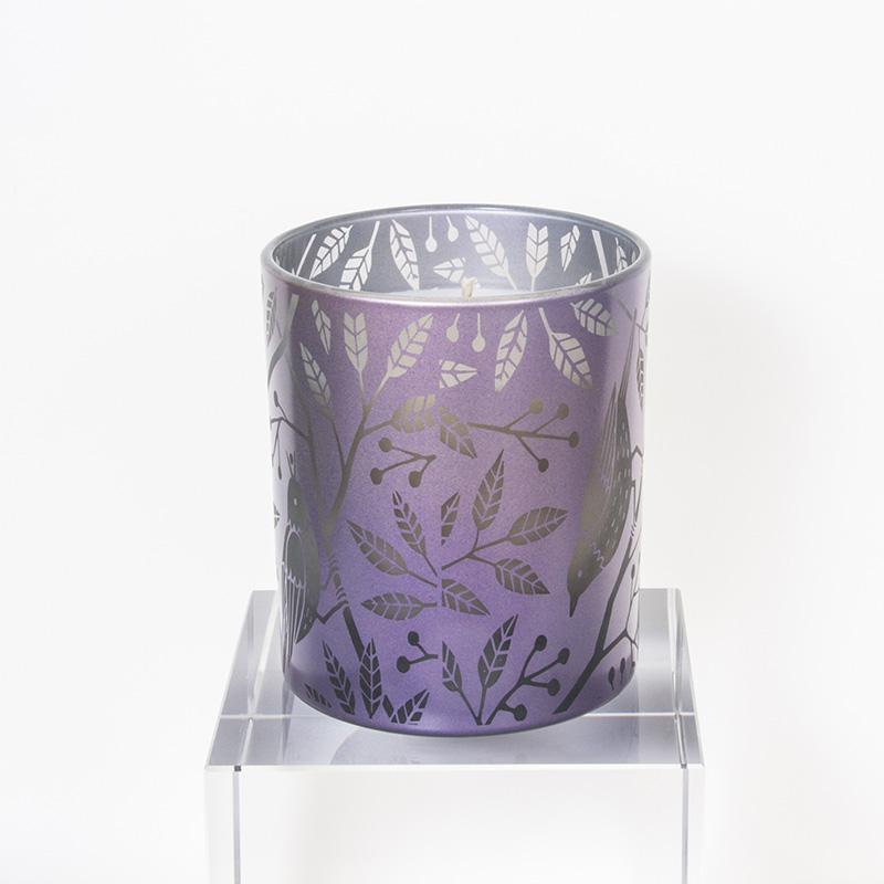 镭射紫色花鸟杯