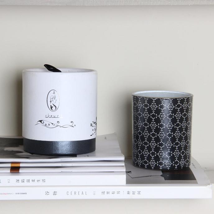 黑色花纸玻璃杯香薰蜡烛