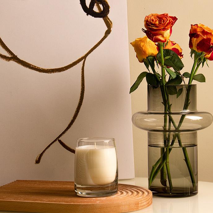 厚底白杯玻璃圣诞蜡烛