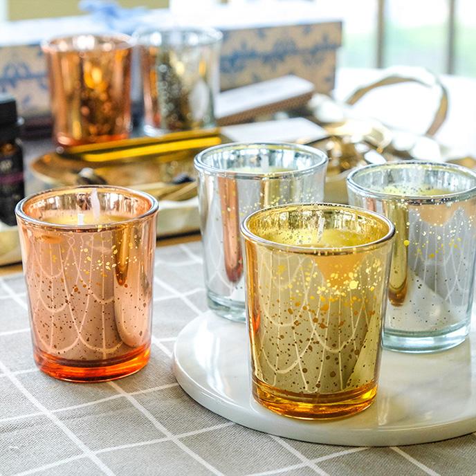 家用金色镂空电镀玻璃蜡烛杯