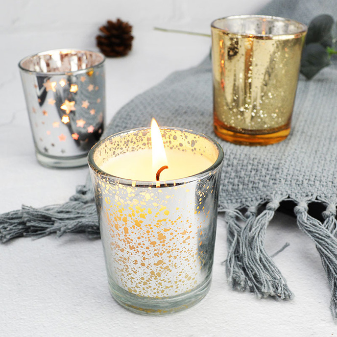 银色镂空玻璃杯大豆蜡灌蜡杯