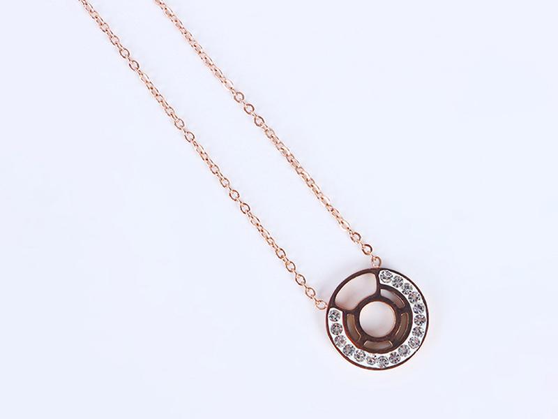 钛钢项链 日韩版圆形玫瑰金
