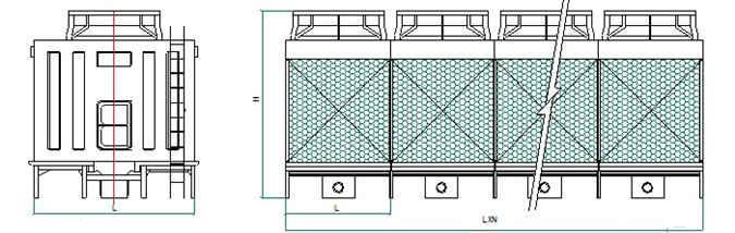 方形横流节能冷却塔示意图