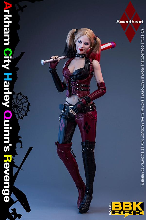 BBK011 1/6 小丑女植發Harley Quinn可動兵人偶模型手辦