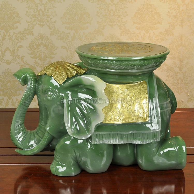 创意大象凳子树脂工艺品仿翡翠