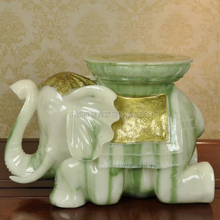 创意大象凳子树脂工艺品仿白玉