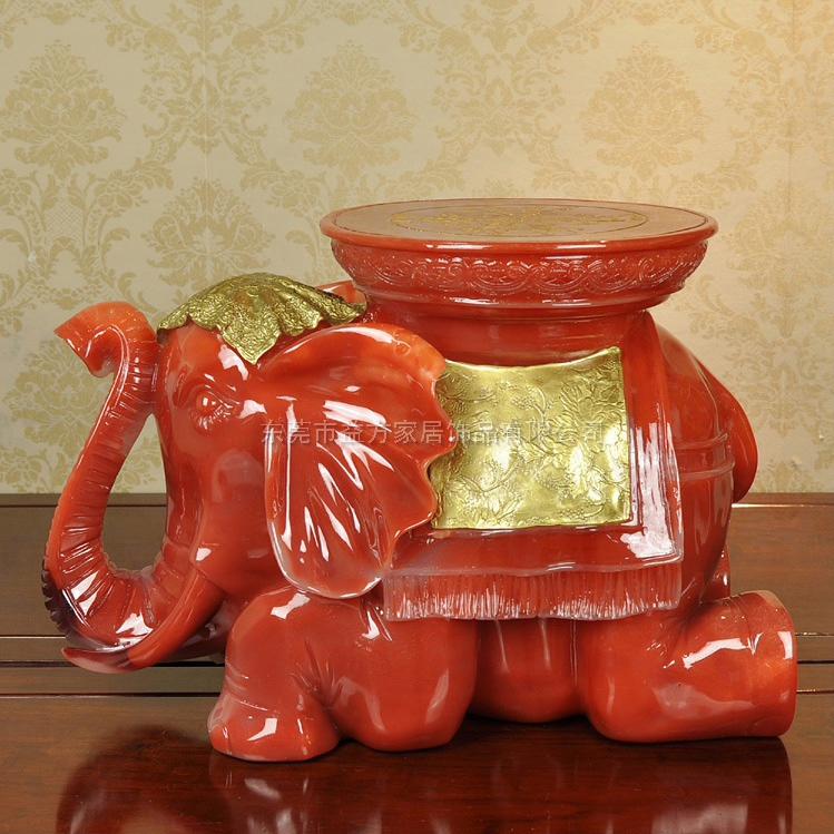 创意大象凳子树脂工艺品仿红琉璃