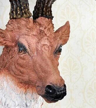 黑白装饰画动物鹿头