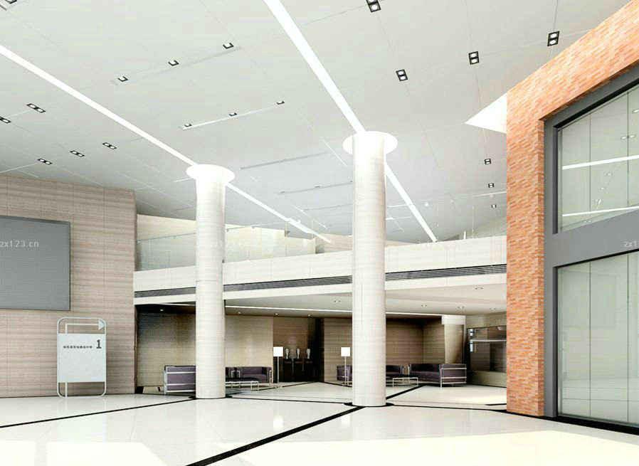 酒店大厅平面式吊顶效果图