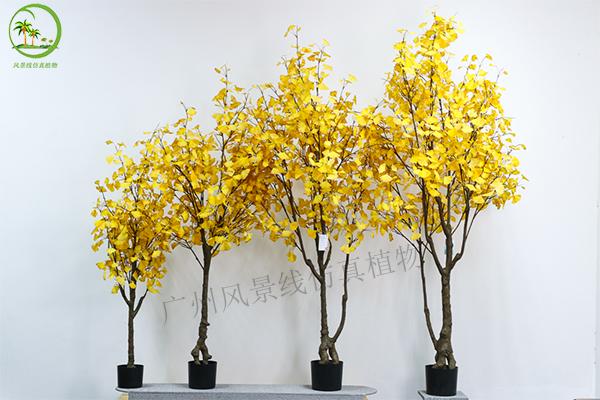 仿真黃銀杏樹盆栽