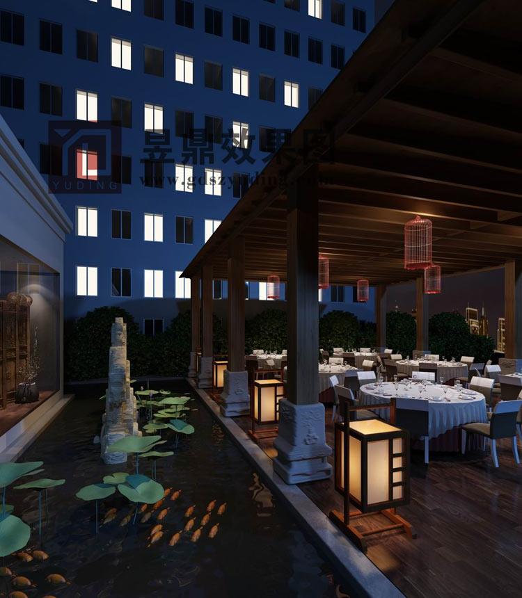 室外酒店餐厅透视图