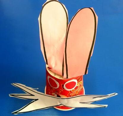 眼睛剪出来,然后用胶棒把他们粘贴在纸杯上,这样水杯兔子就可以了.