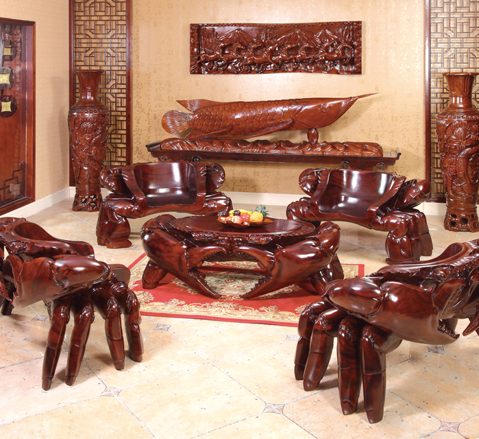 雅雕堂螃蟹雕刻家具