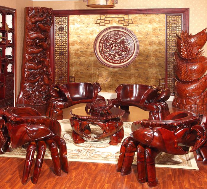 螃蟹雕刻家具