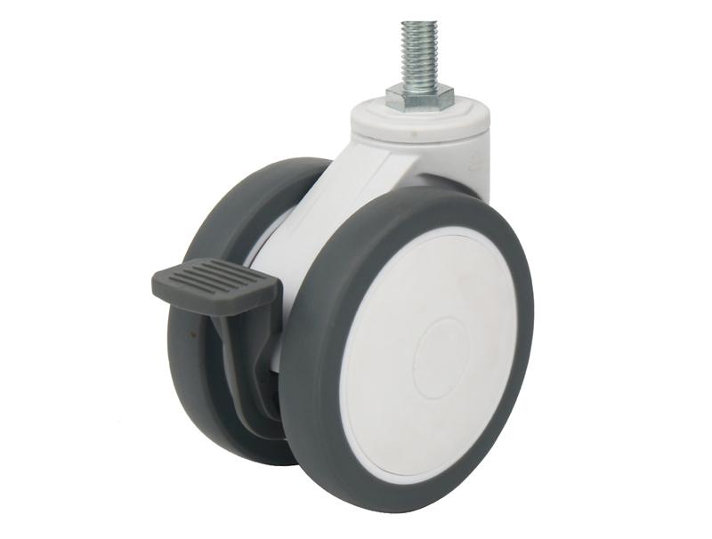 3/4英寸帶尼龍全剎絲桿萬向雙輪醫療設備腳輪超靜音醫療輪