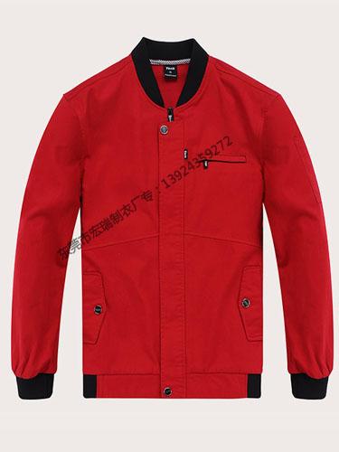 红色长袖纯棉工作服