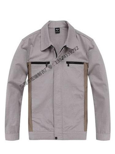浅驼驼色差色长袖纯棉工作服