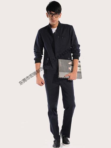 深蓝长袖纯棉工作服
