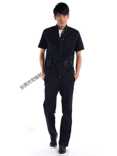 涤棉斜纹深蓝短袖工作服