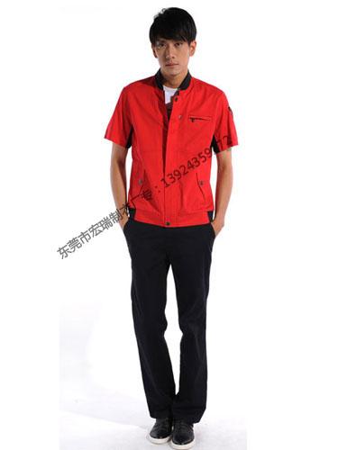 涤棉斜纹红色短袖工作服