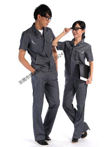 涤棉斜纹铁灰短袖工作服WY508-008