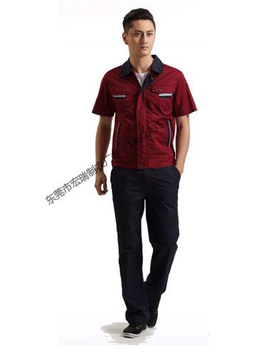 枣红色涤棉细斜纹短袖工作服WY513-015