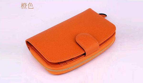 橙色玫红牛皮钱包