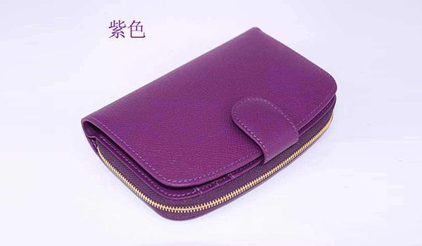 紫色玫红牛皮钱包
