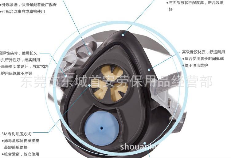 3M3200防尘口罩面具 防雾霾口罩 工业粉尘硅胶防尘面具