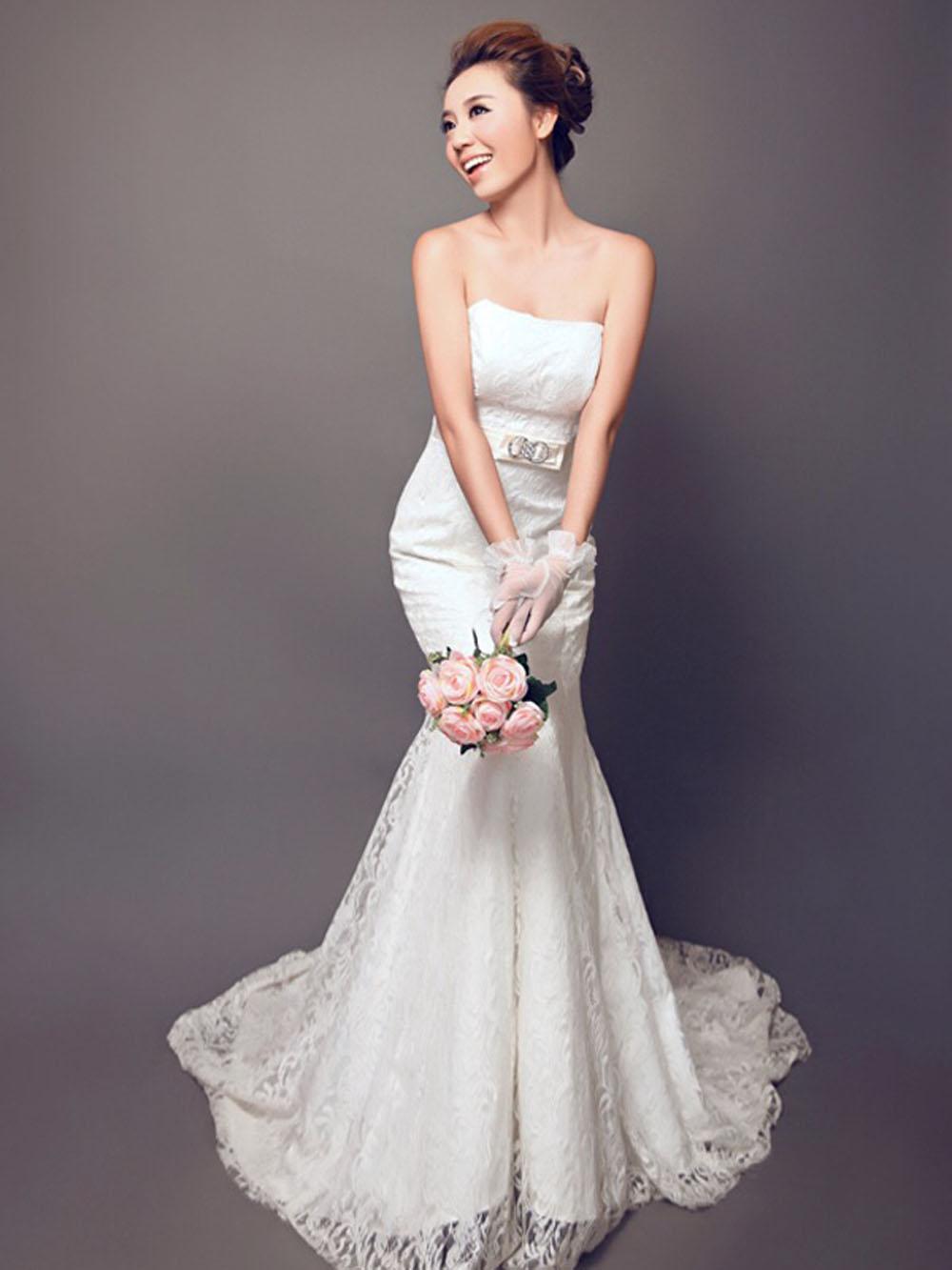 纯背景韩式婚纱照图片