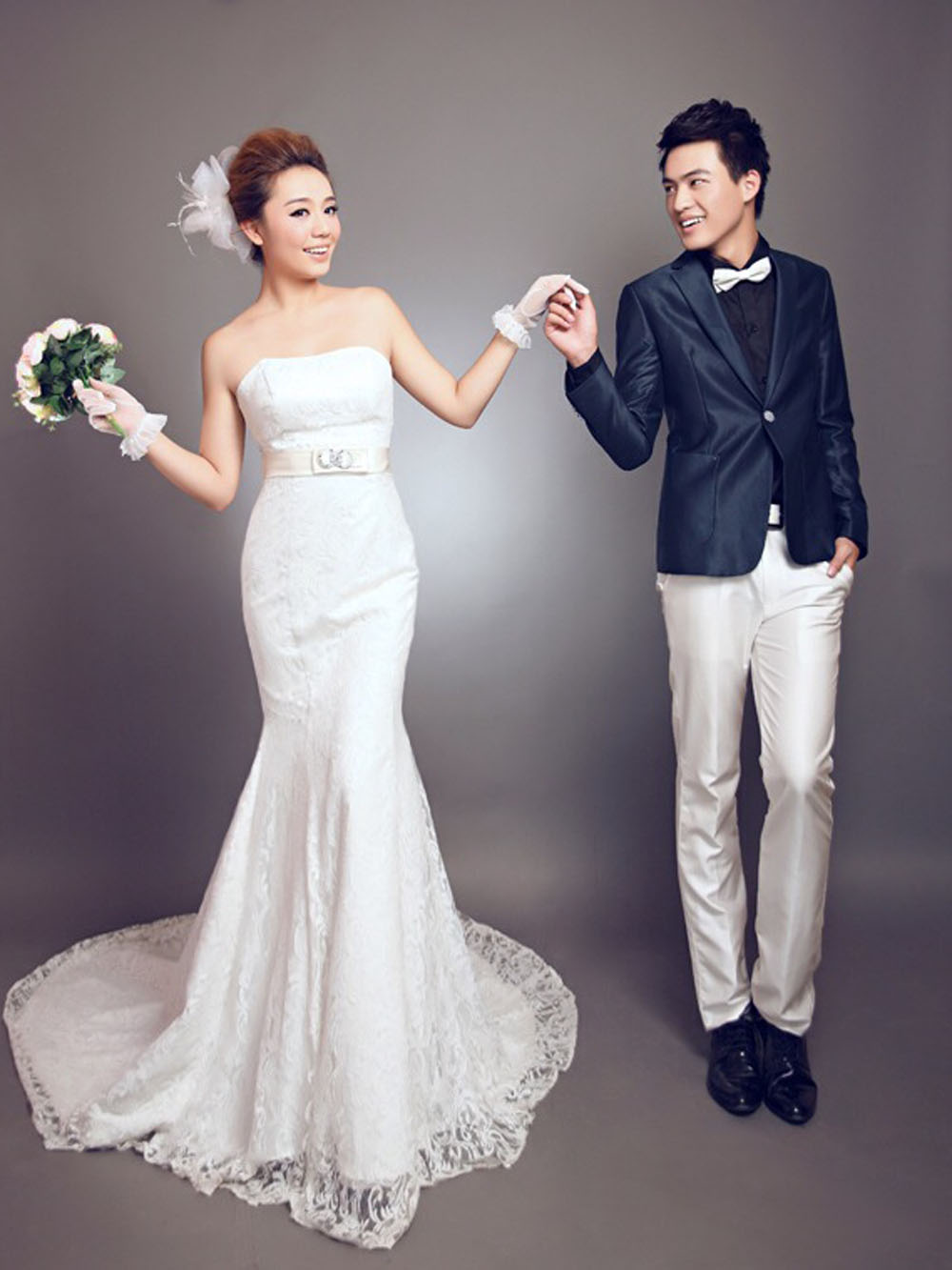 纯背景韩式婚纱照