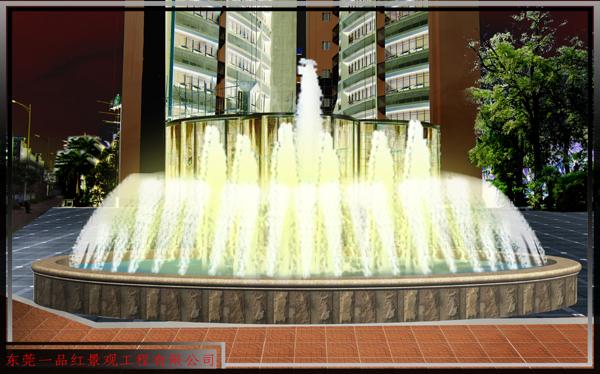 酒店-喷水池.夜景