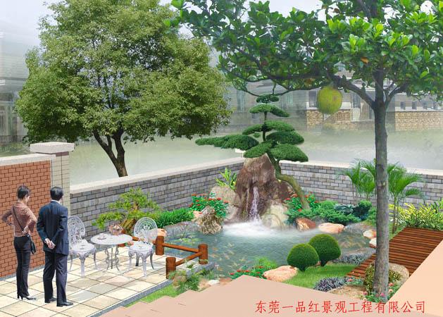 私家花园-鱼池假山