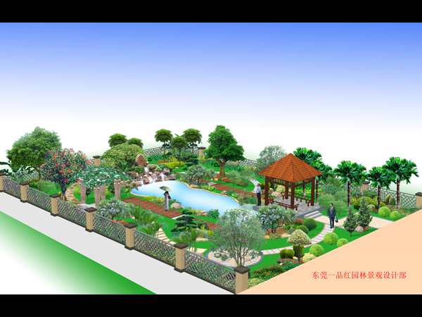 私家花园-亭台鱼池