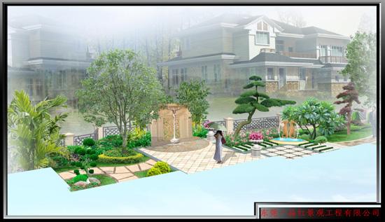 别墅花园-景墙水池
