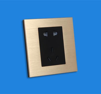 鋁拉絲面板五孔插座