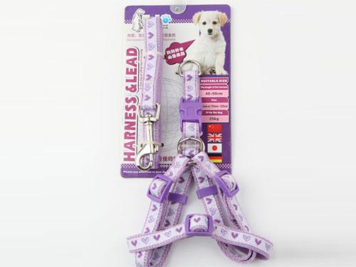 亚博 尼龙缎带胸背带配拉带  浅紫