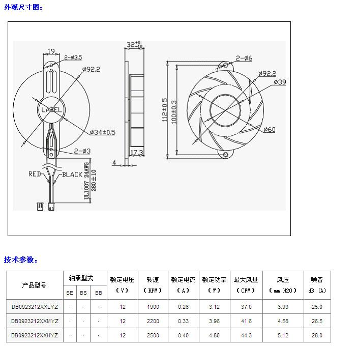 半导体冰箱风扇dd9232系列