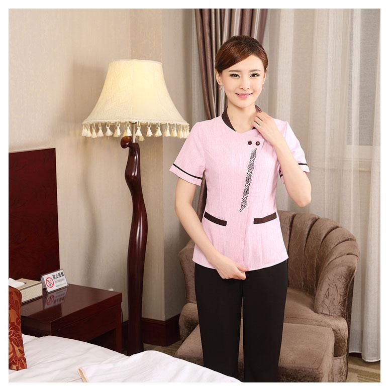 东莞制衣厂工作服来图定制粉色短袖清洁服
