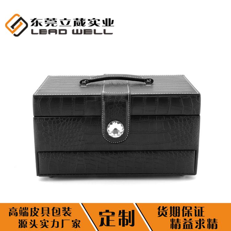 首飾盒廠家定制黑色大容量首飾收納盒