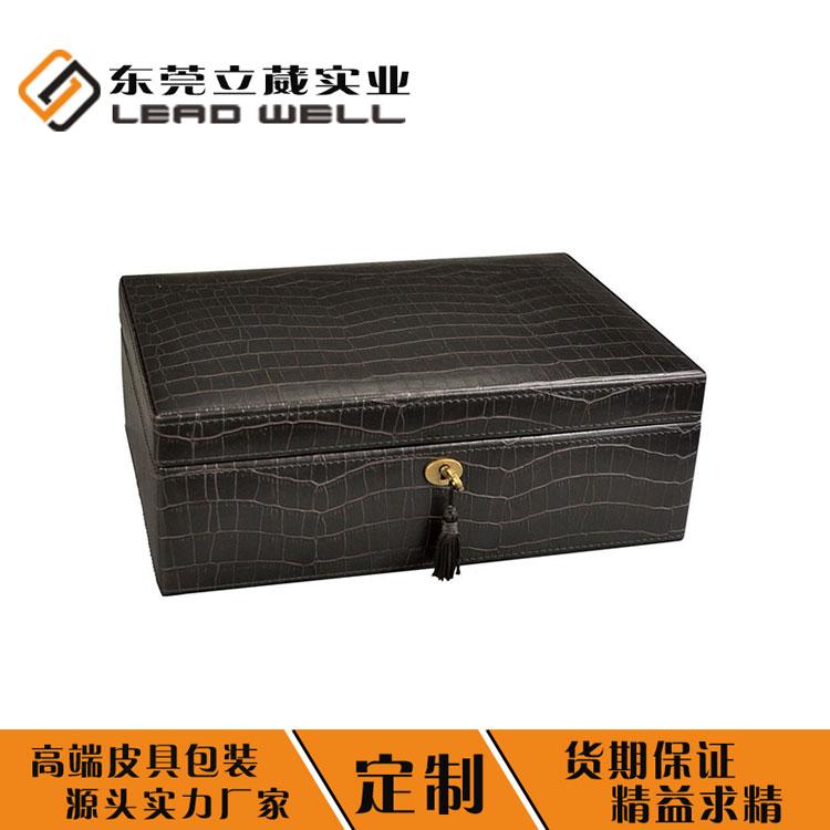 帶鎖黑色首飾盒 廠家定制皮盒包裝