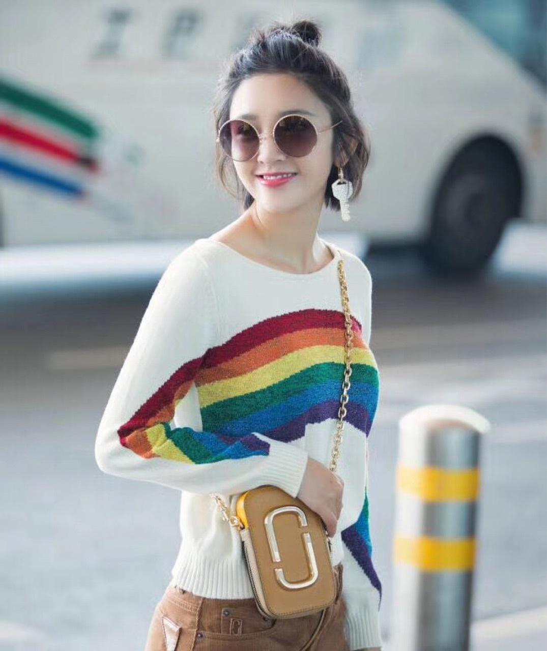 多色间色长袖女装针织毛衣